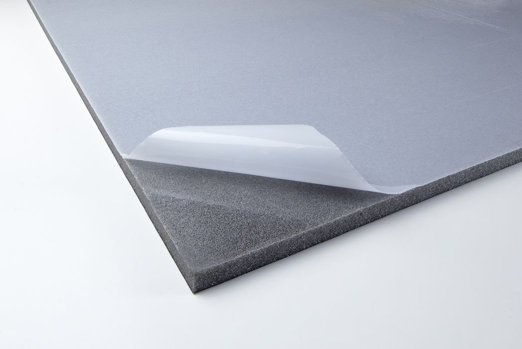 Acoustic foam with skin 12 adhesive heavy layer